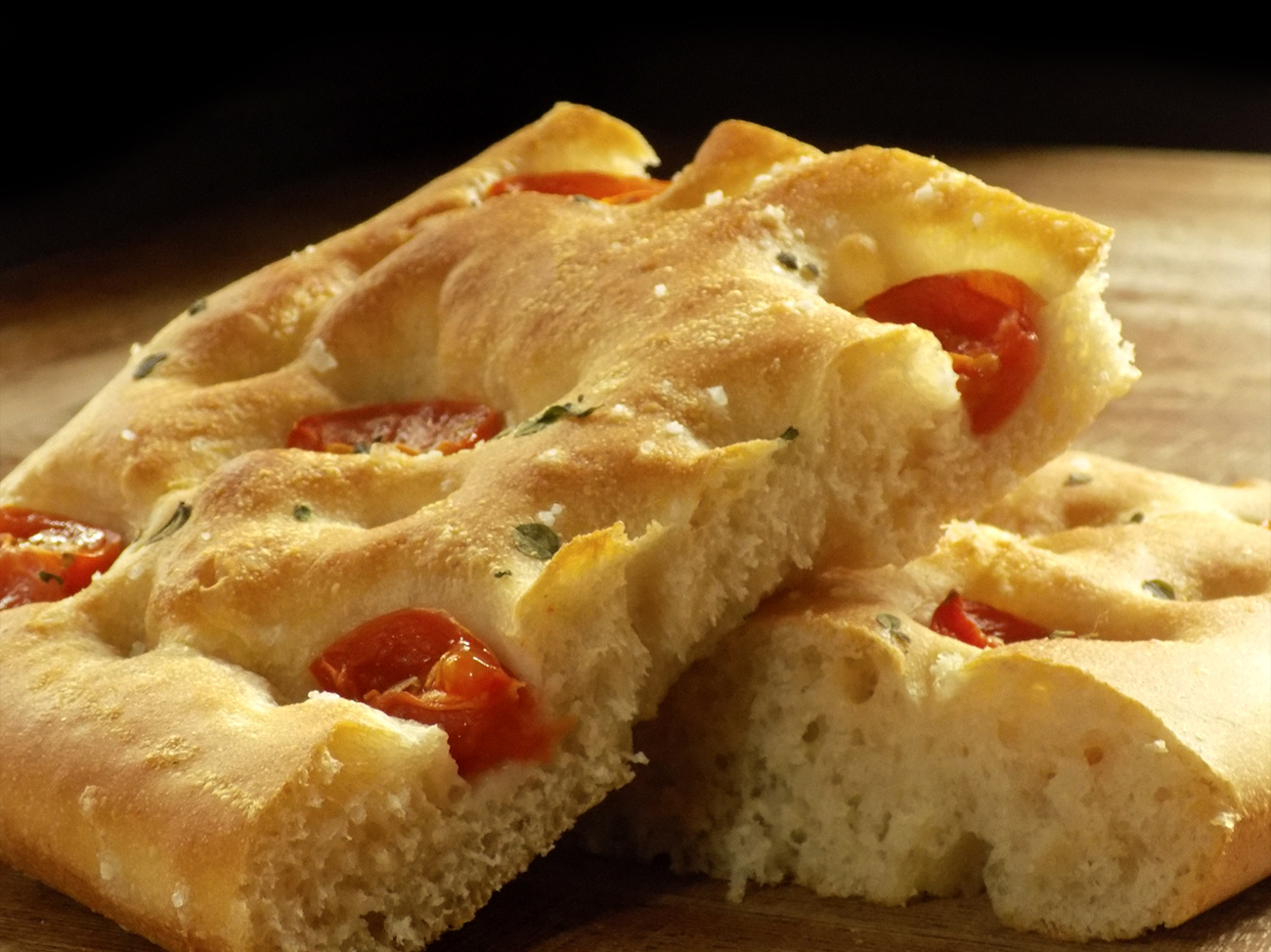 Certified organic hand crafted cherry tomato focaccia